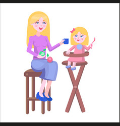 Mother feeds daughter holds spoon on highchair vector
