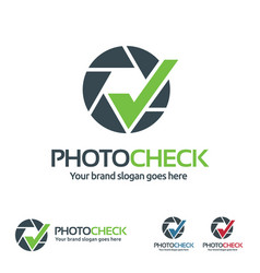 photo check logo camera shutter with check symbol vector image