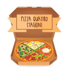 The real pizza quattro stagioni pizza four vector