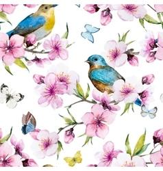 Watercolor sakura pattern vector image vector image