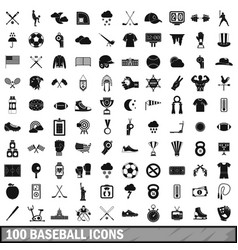 100 baseball icons set simple style vector