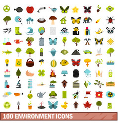 100 environment icons set flat style vector