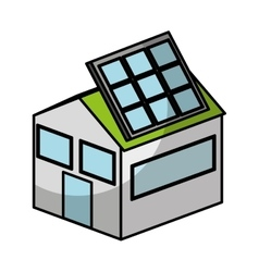 House exterior with panel solar isolated icon vector