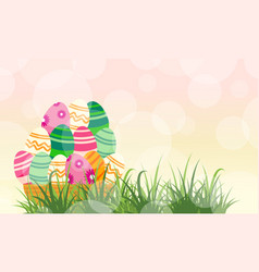 Easter egg and grass backgrounds vector