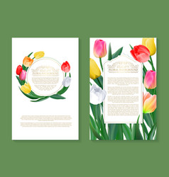 Colorful tulips on two vertical blank banners set vector