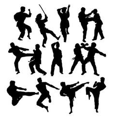 Karate martial art silhouettes vector