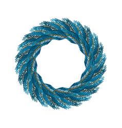 Christmas wreath blue isolated fir branch circlet vector