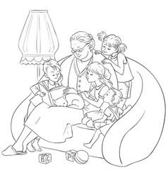 Grandmother is reading fairytales to grandchildren vector