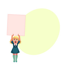 Little girl child kid holding blank empty poster vector