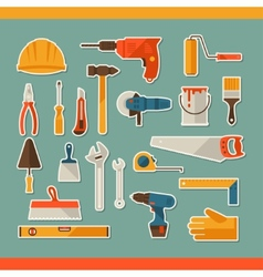 Repair and construction working tools sticker icon vector image