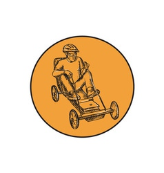 Rider riding soapbox etching vector