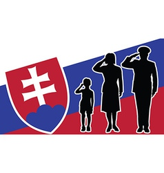 Slovakia soldier family salute vector