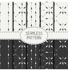 Set of geometric monochrome hipster line seamless vector