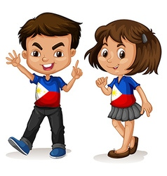 Philippines boy and girl greeting vector