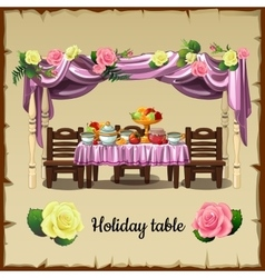Festive table with food vector