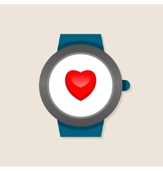 Smart watches with heart on screen vector