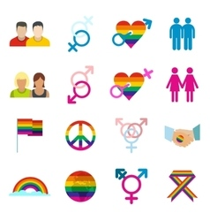 Gays flat icons set vector