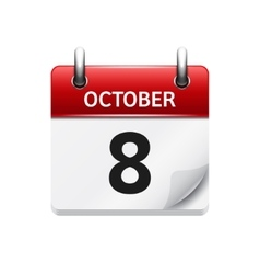 October 8 flat daily calendar icon date vector