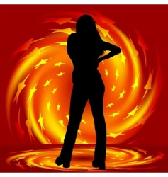 Girl and fire twirl vector