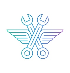 Auto mechanic car repair shop logo icon with wings vector