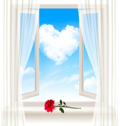 Background with an open window and a red flower vector