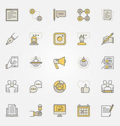 Blog and blogger colorful icons vector