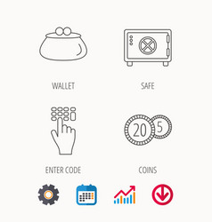 Cash money safe box and wallet icons vector
