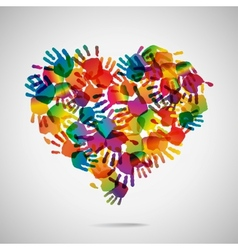 Colored heart from hand print icons vector