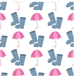 cute multi colored umbrella rubber boots in flat vector image