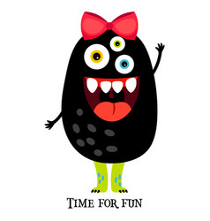 cute print with funny girl monster vector image vector image