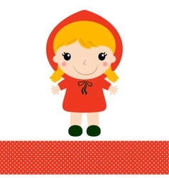 Cute red riding hood isolated on white vector