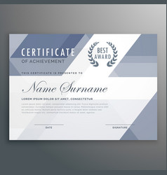 Geometric certificate award template design vector
