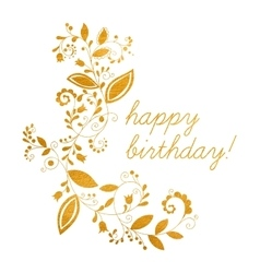Gold greeting happy birthday card vector