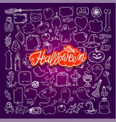 halloween night doodles vector image vector image