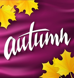 hand drawn autumn lettering label with leaves on vector image vector image