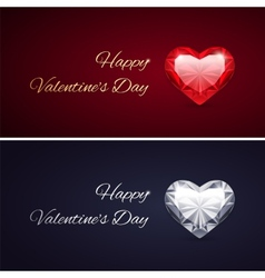 Happy Valentines Day Cards with Gems vector image
