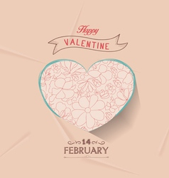 happy valentines with floral heart vector image vector image