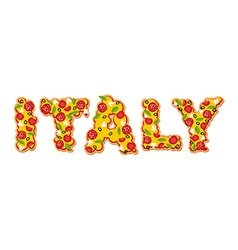 Italy text from slice of pizza appetizing text of vector