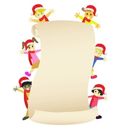 Kids with blank banner for Christmas coming vector image