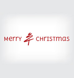 Merry christmas tree line with text vector