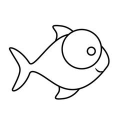 Monochrome silhouette of fish with big eye and vector