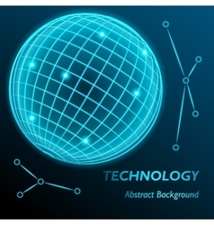 Neon grid globe background sphere with modern vector