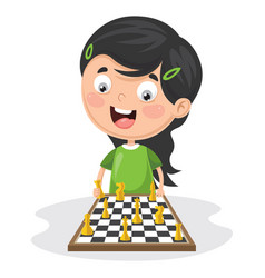 of a kid playing chess vector image vector image