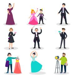 people in theatre set vector image vector image