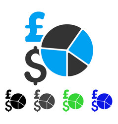 Pound and dollar pie chart flat icon vector