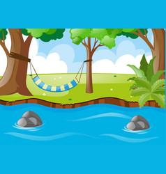 scene with hammock on the tree vector image
