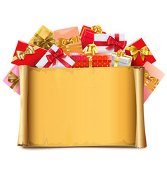 Scroll with gifts vector