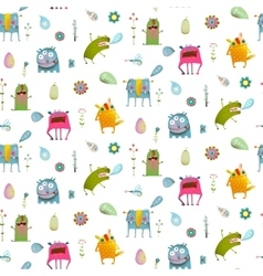 Seamless pattern cartoon monster background for vector image vector image