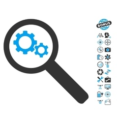 Search Gears Tool Icon With Air Drone Tools Bonus vector image