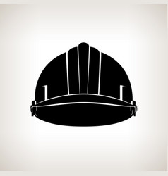 Silhouette working safety helmet vector